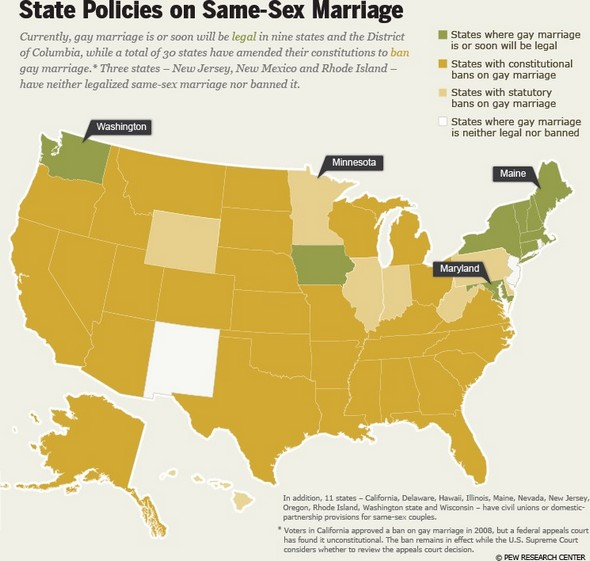 Map shows states where gay marriage is legal